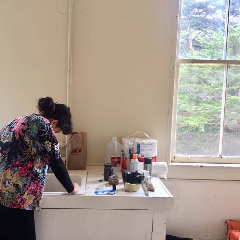Gala Porras-Kim at work during her current residency at Headlands Center for the Arts.