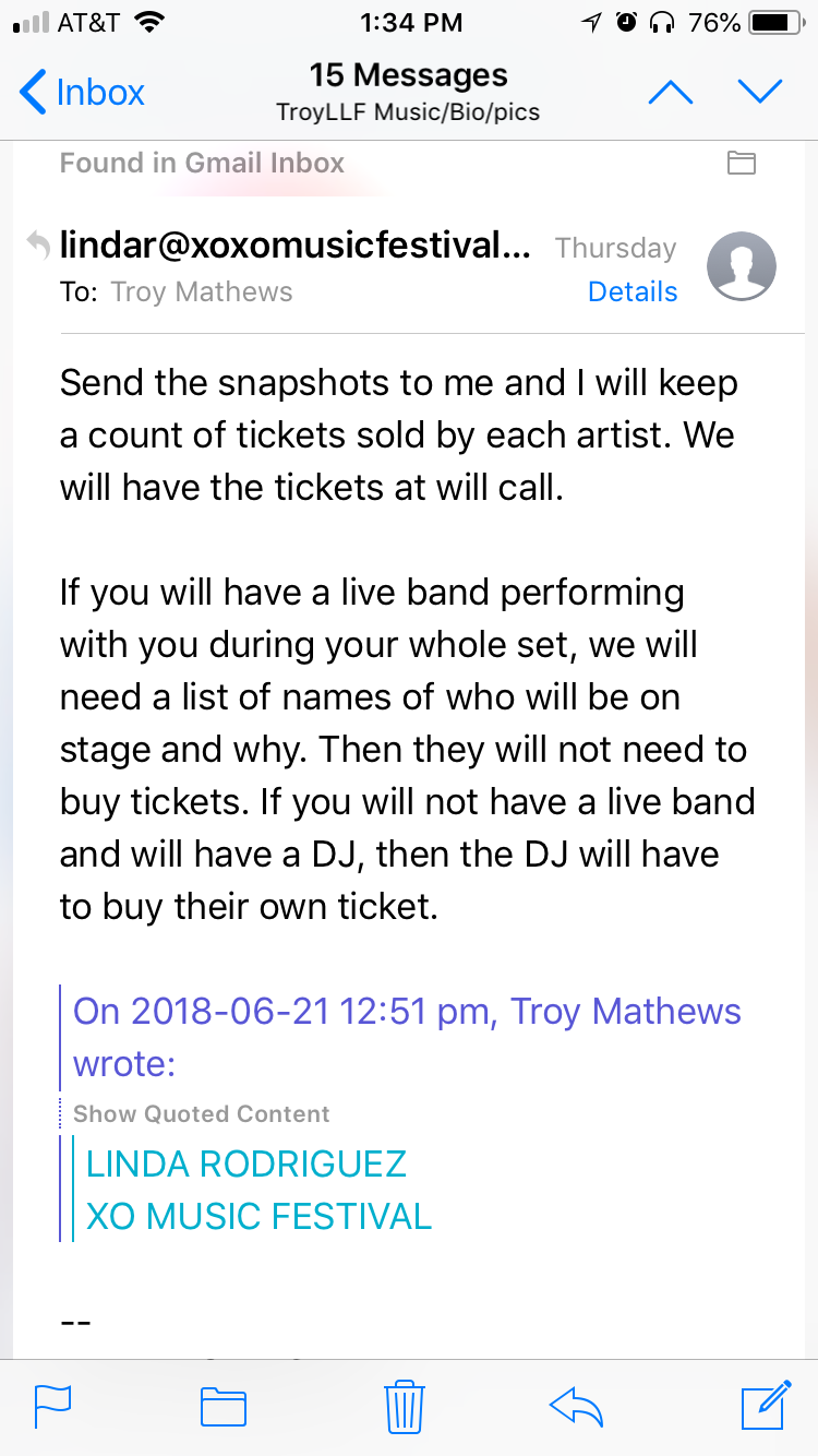 In an email, XO Festival's Linda Rodriguez told artist TroyLLF that his DJ would have to purchase a ticket despite being part of the show.