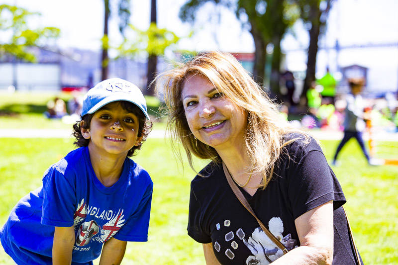 Dori Jafarieh attends the World Cup Semi-final Viewing Party with her grandson Rohan Takhar on Wednesday, July 11 at Sue Bierman Park in San Francisco.