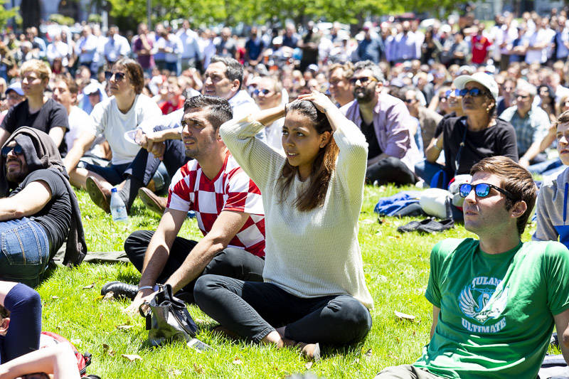 The crowd at the World Cup Semi-final Viewing Party on Wednesday, July 11 at Sue Bierman Park in San Francisco.