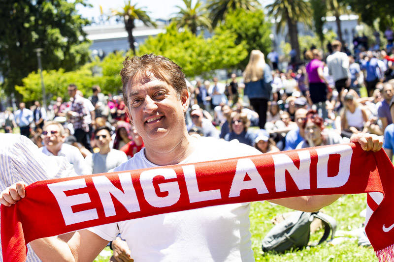 Warren Jackson roots for England at the World Cup Semi-final Viewing Party on Wednesday, July 11 at Sue Bierman Park in San Francisco.