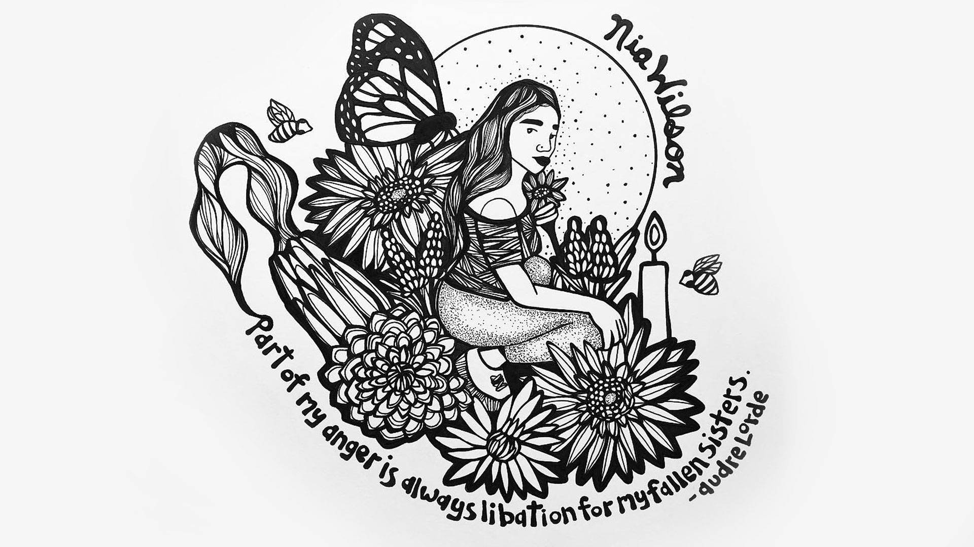 """""""Part of my anger is always libation for my fallen sisters."""" — Audre Lorde Artwork by Francis (@girasoulll)"""