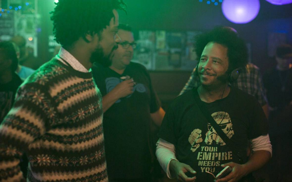 Lakeith Stanfield and director Boots Riley (L–R) on the set of 'Sorry to Bother You,' an Annapurna Pictures release.  Peter Prato / Annapurna Pictures