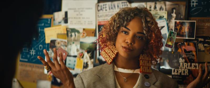 Tessa Thompson in 'Sorry to Bother You,' with earrings designed by J. Otto Seibold.