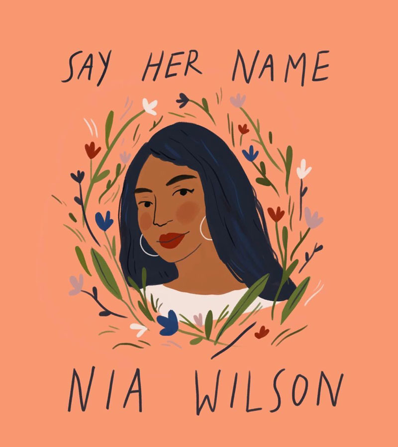 """A caption doesn't really do it, but trying to help spread visibility for Nia, who was killed in a brutal racial hate crime Sunday night on the bay area's public transportation."" — Sarah Green Studio"