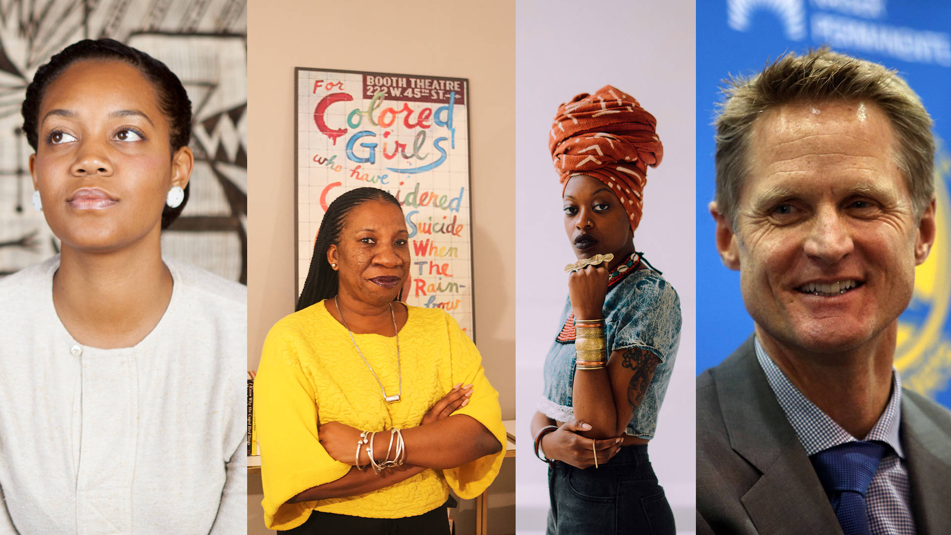 Chinaka Hodge, Tarana Burke, Brittsense and Steve Kerr are four of the honorees on the YBCA 100 list of influencers. Photos courtesy of YBCA; collage by Nastia Voynovskaya