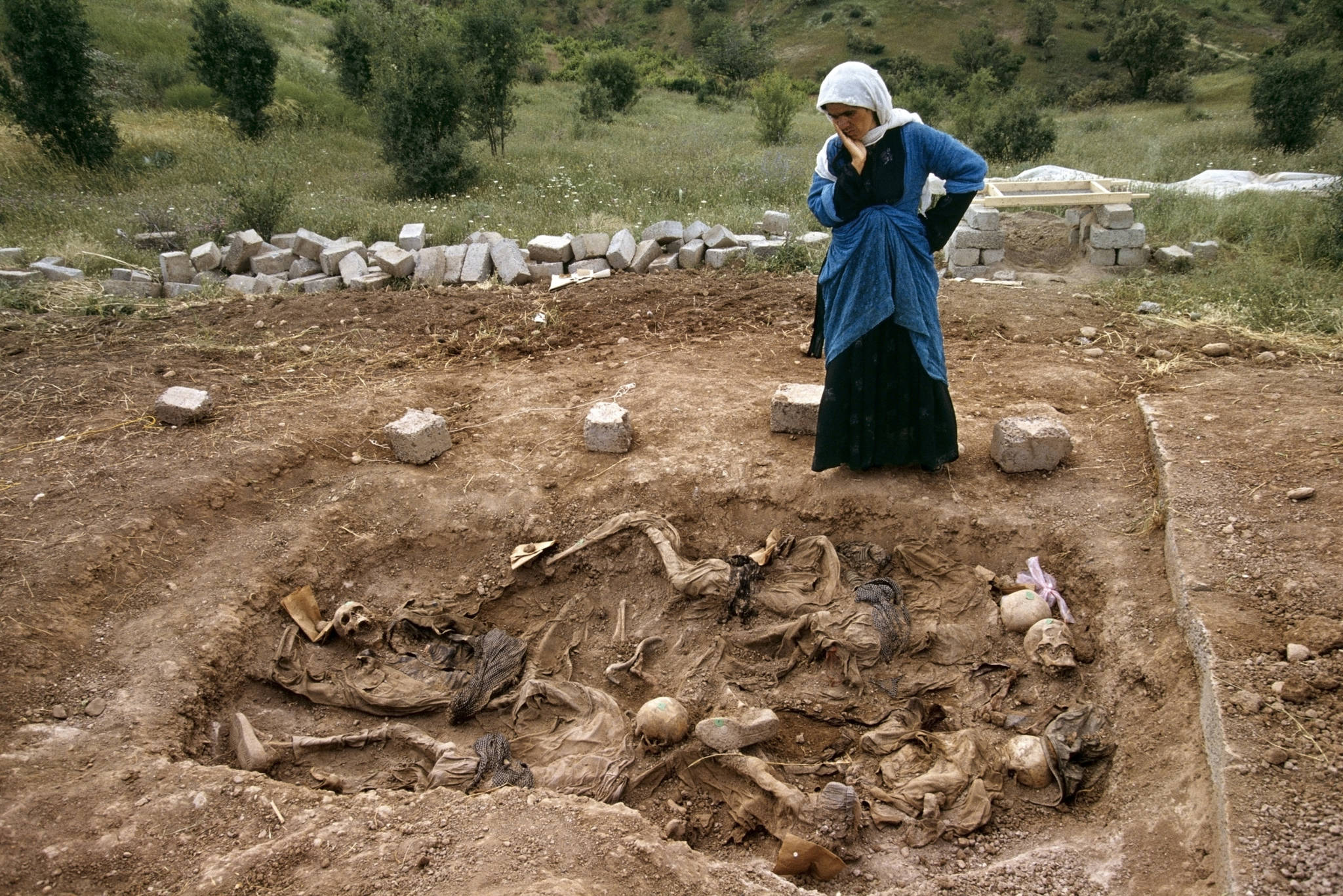 Susan Meiselas, 'Widow at mass grave found in Koreme, Northern Iraq,' 1992.