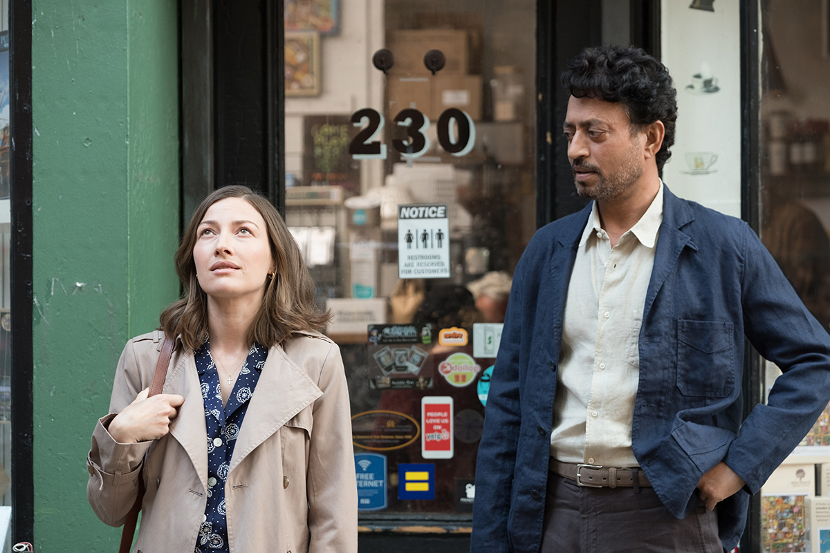 Left to right: Kelly Macdonald as Agnes and Irrfan Khan as Robert.