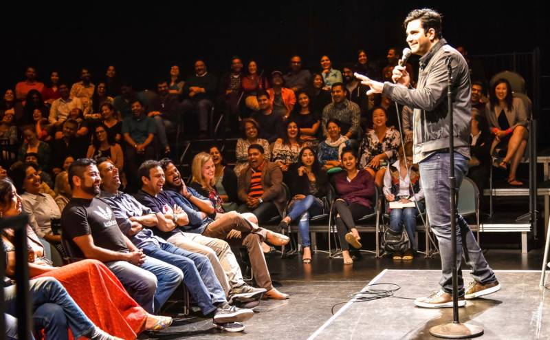 Abhay Nadkarni entertains a crowd in Mountain View during Desi Comedy Fest 2017.