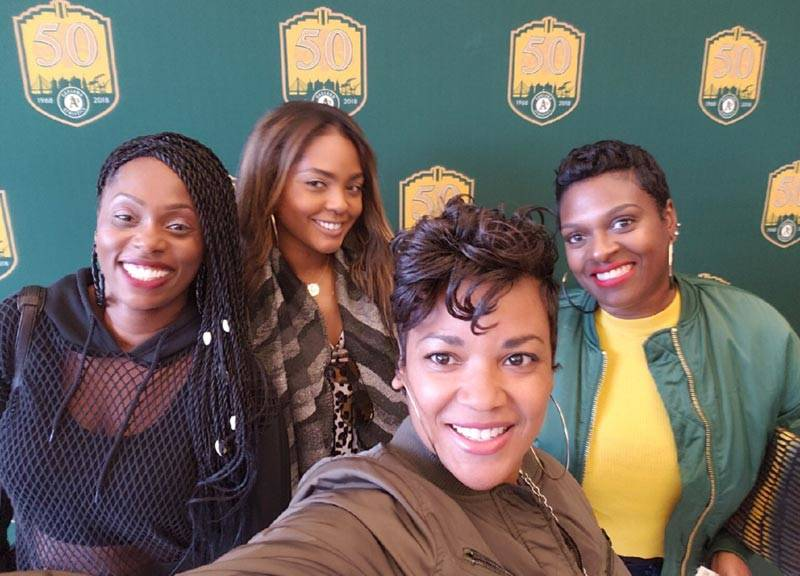 A's fans Tasha Dial, Tiffany Stapleton, KaSelah Crockett and Monique Nichols (L–R) at African American Heritage Night at the Coliseum.