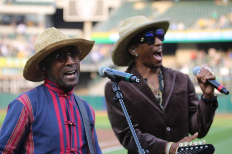 Tony! Toni! Toné! performs the African American national anthem at the Coliseum for African American Heritage Night.