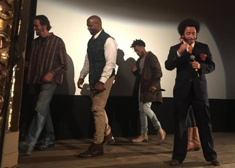 Boots Riley (at right) at the premiere of 'Sorry to Bother You' at the Grand Lake Theatre, April 12, 2018, with cast members Michael X. Sommers, Terry Crews and Jermaine Fowler (L–R).