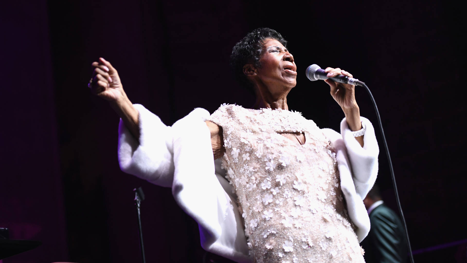 Aretha Franklin performs onstage at the Elton John AIDS Foundation Commemorates Its 25th Year And Honors Founder Sir Elton John During New York Fall Gala at Cathedral of St. John the Divine on November 7, 2017 in New York City.   Dimitrios Kambouris/Getty Images
