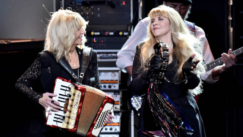 Christine McVie (L) and Stevie Nicks of Fleetwood Mac perform during MusiCares Person of the Year honoring Fleetwood Mac at Radio City Music Hall on January 26, 2018 in New York City.