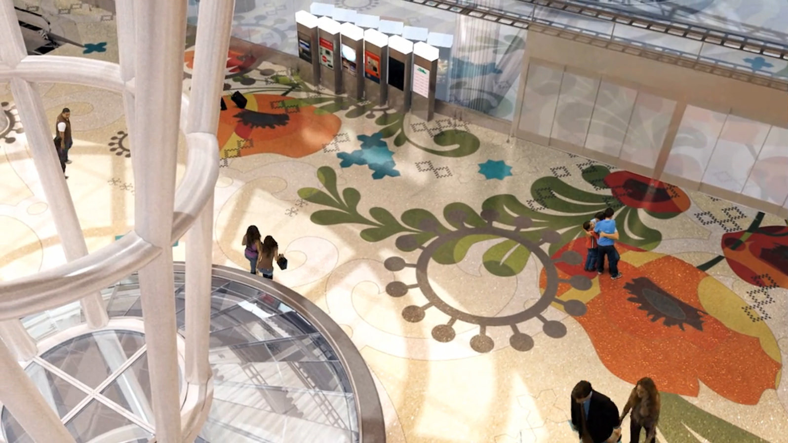 A rendering of Julie Chang's 'Secret Garden' terrazzo floor, as seen from above.