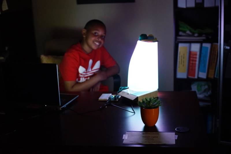 Thirteen-year-old Michael Slater and his computer-controlled mood light.