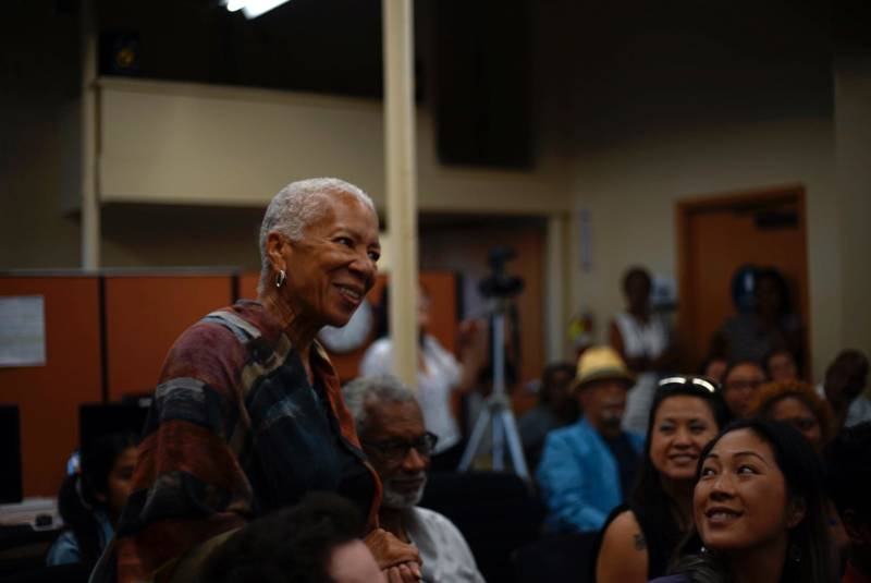 Angela Glover Blackwell asks a question during a panel at the David E. Glover Center, July 25, 2018.