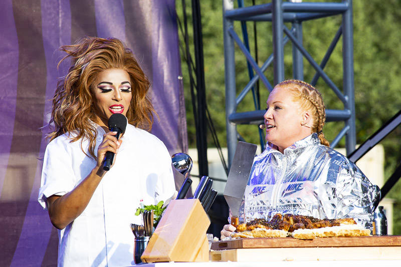 Tiffani Faison and Shangela perform at the at Outside Lands in San Francisco, Aug. 10, 2018.