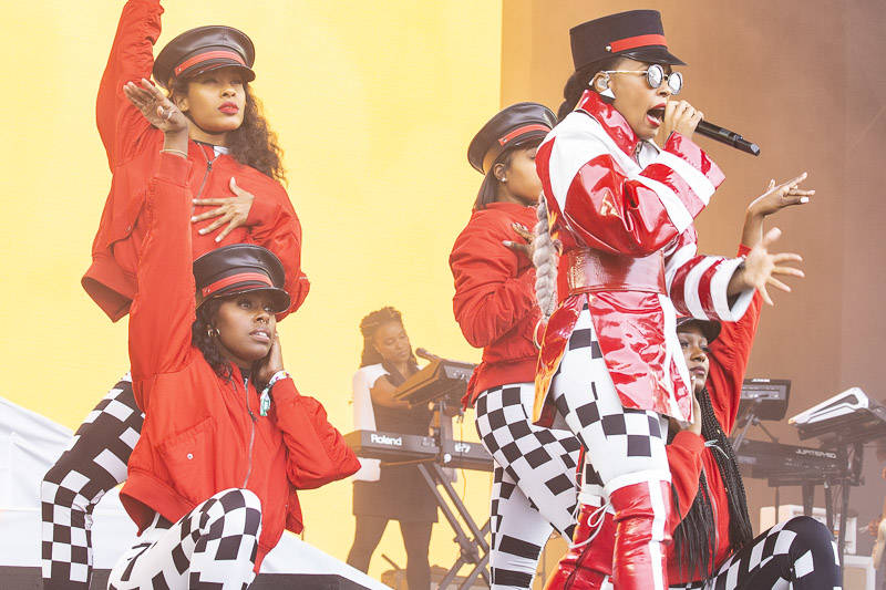 Janelle Monáe performs at the Outside Lands music festival in San Francisco, Aug. 12, 2018.