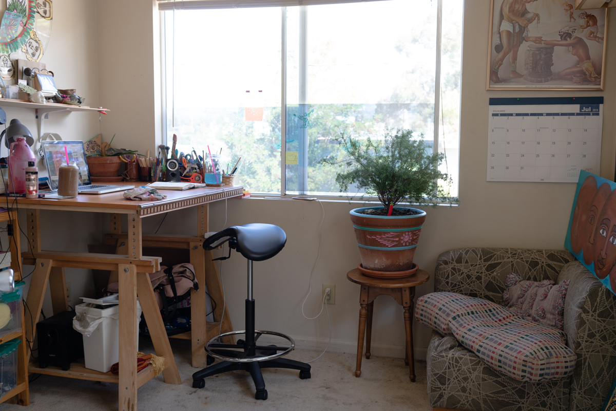 González-Medina's home studio in Oakland.