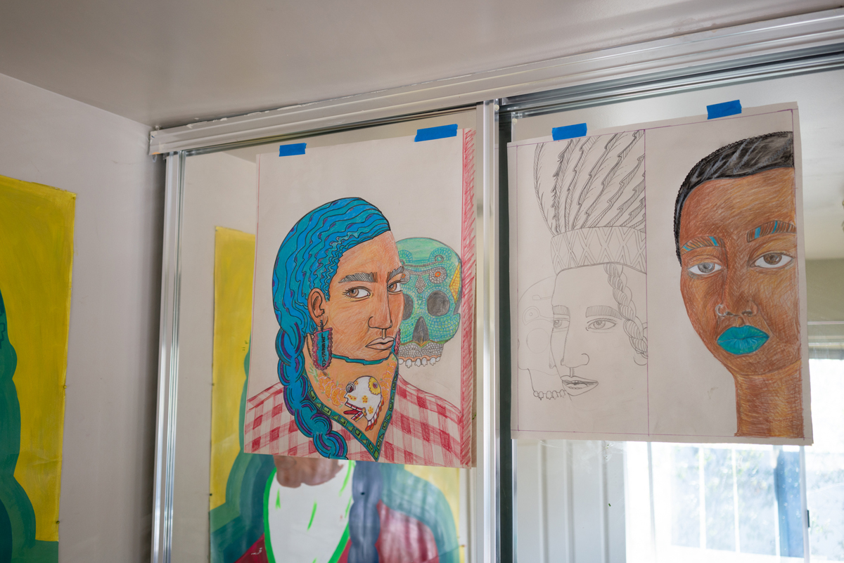 Works in progress in González-Medina's home studio.
