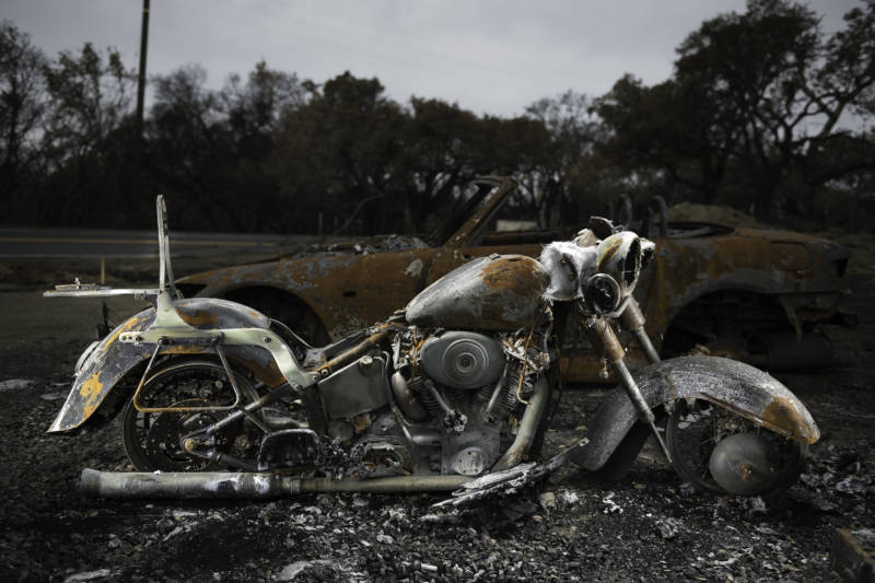 The wreckage from a burnt out vintage Harley Davidson encapsulates what was lost in the Wine Country wildfires of 2017.