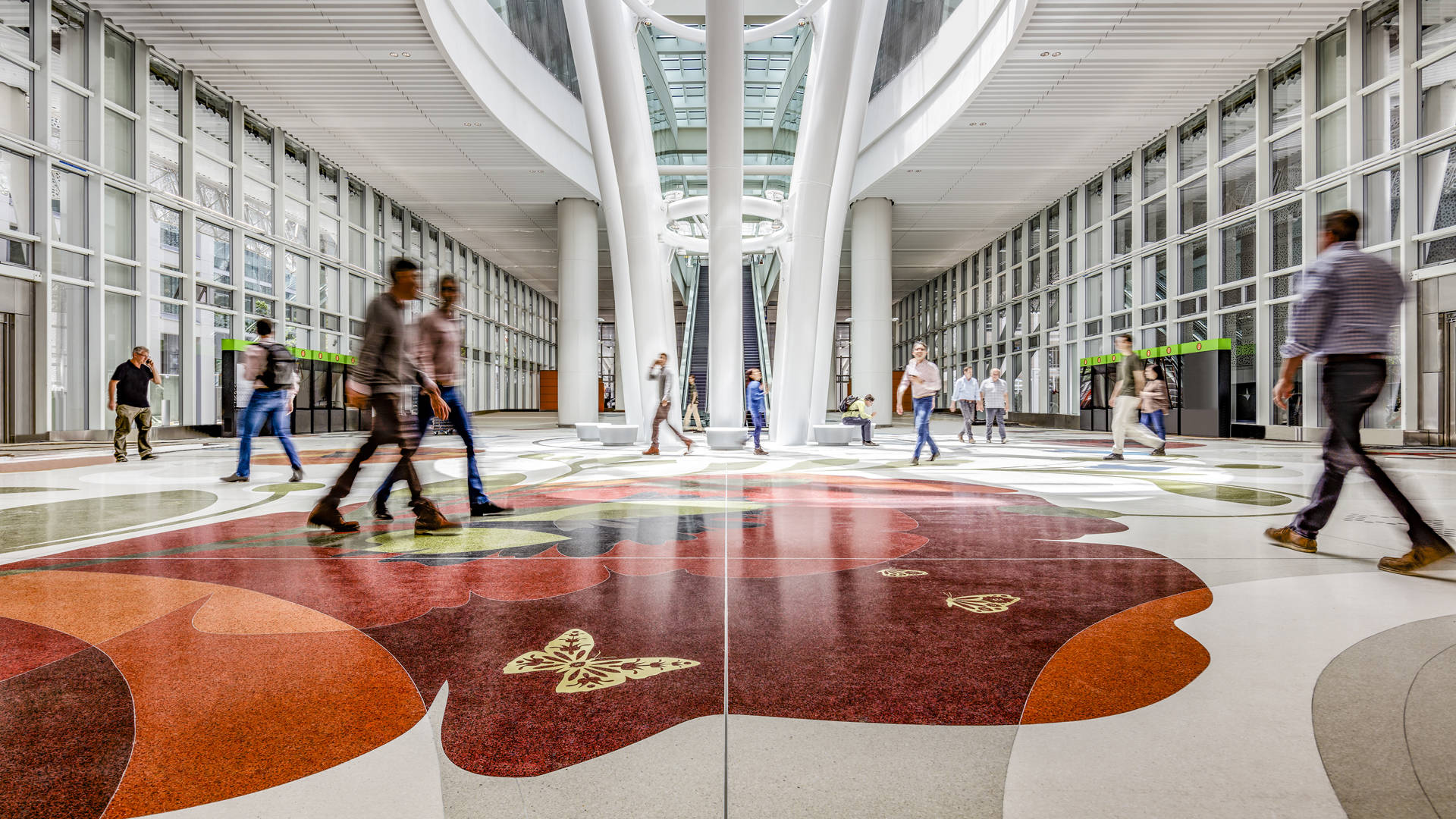 The Grand Hall of the new Transbay Transit Center featuring Julie Chang's floor installation, 'Secret Garden.' Tim Griffith