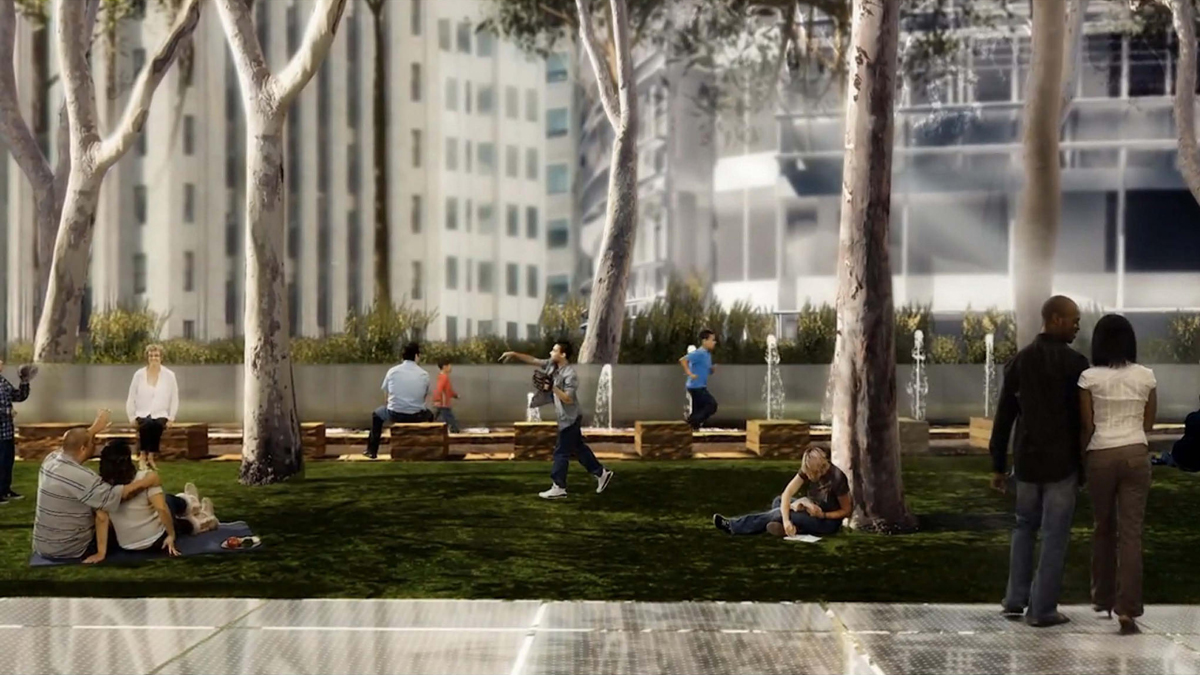 A rendering of the Transit Center's rooftop park, with Ned Kahn's 'Bus Jet Fountain' in the background.