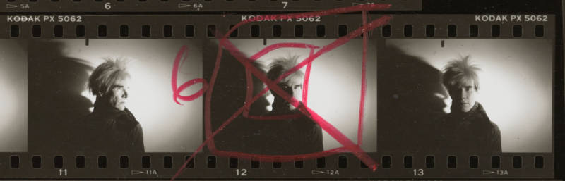 Detail from a contact sheet of Andy Warhol, 1986.