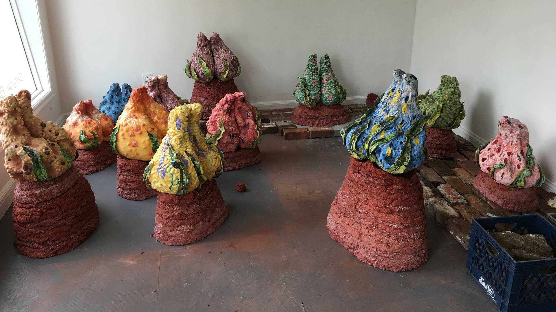 Cathy Lu's 'Peach Garden' mid-installation at Irving Street Projects. Courtesy of Irving Street Projects
