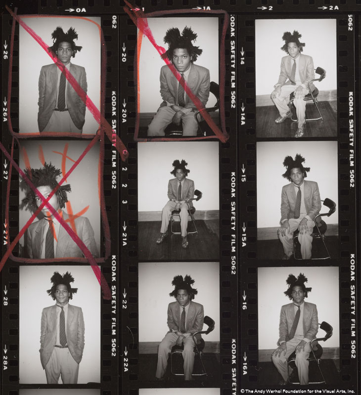 Detail from Contact Sheet [Jean-Michel Basquiat photo shoot for Polaroid portrait; Andy Warhol, Bruno Bischofberger], 1982. Gelatin silver print.