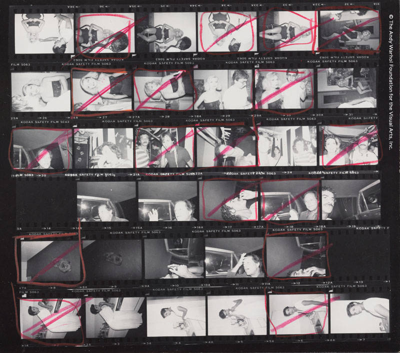 Contact Sheet [Debbie Harry portrait photo shoot, Chris Stein; Victor Hugo, Bianca Jagger, others in club; Dog; Bianca in a kitchen], 1980. Gelatin silver print.