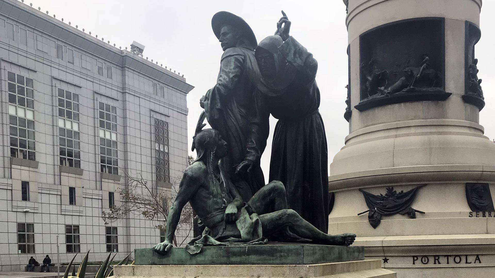 'Early Days,' part of the Pioneer Monument in San Francisco's Civic Center, will be removed in the wake of a Sept. 12 meeting at City Hall. Sam Lefebvre/KQED
