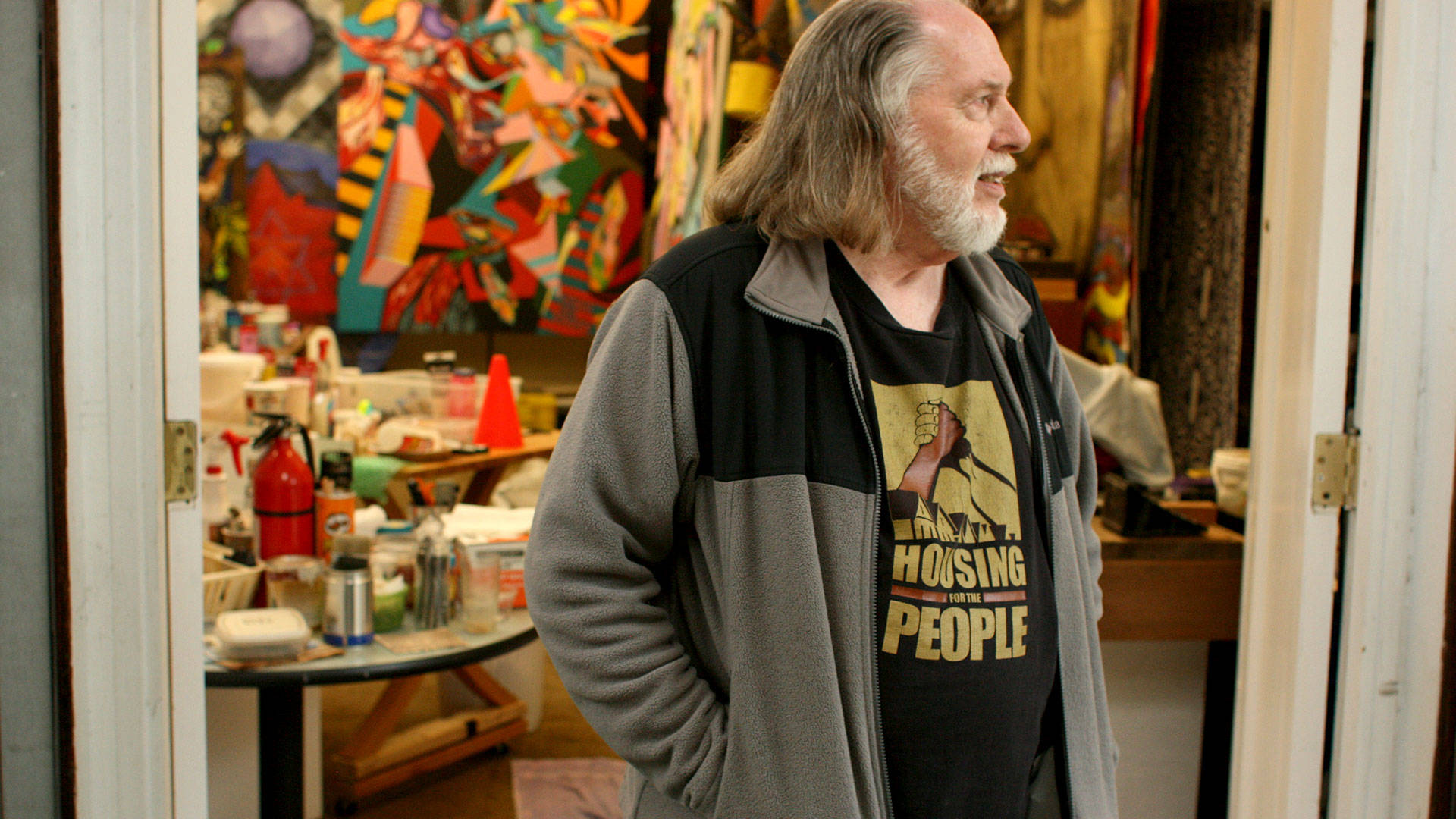 Robert Gill in front of his art studio in East Oakland. The 71-year-old artist is being evicted from his home of nearly 18 years by a process that tenants' rights activists are calling an unjust loophole in city code. Gabe Meline/KQED
