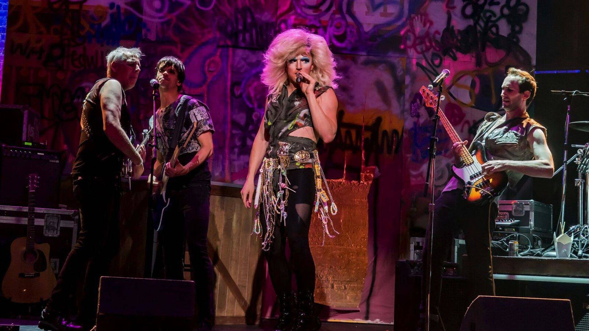Steven Bolinger, Diogo Zavadski, Coleton Schmitto, Lysol Tony-Romeo rock out as Hedwig and the Angry Inch. Alexander Belmont