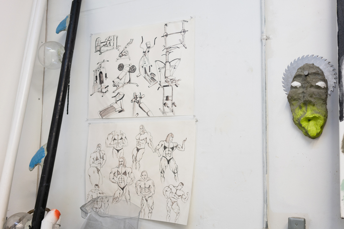 Sketches in Thorne's Oakland studio.