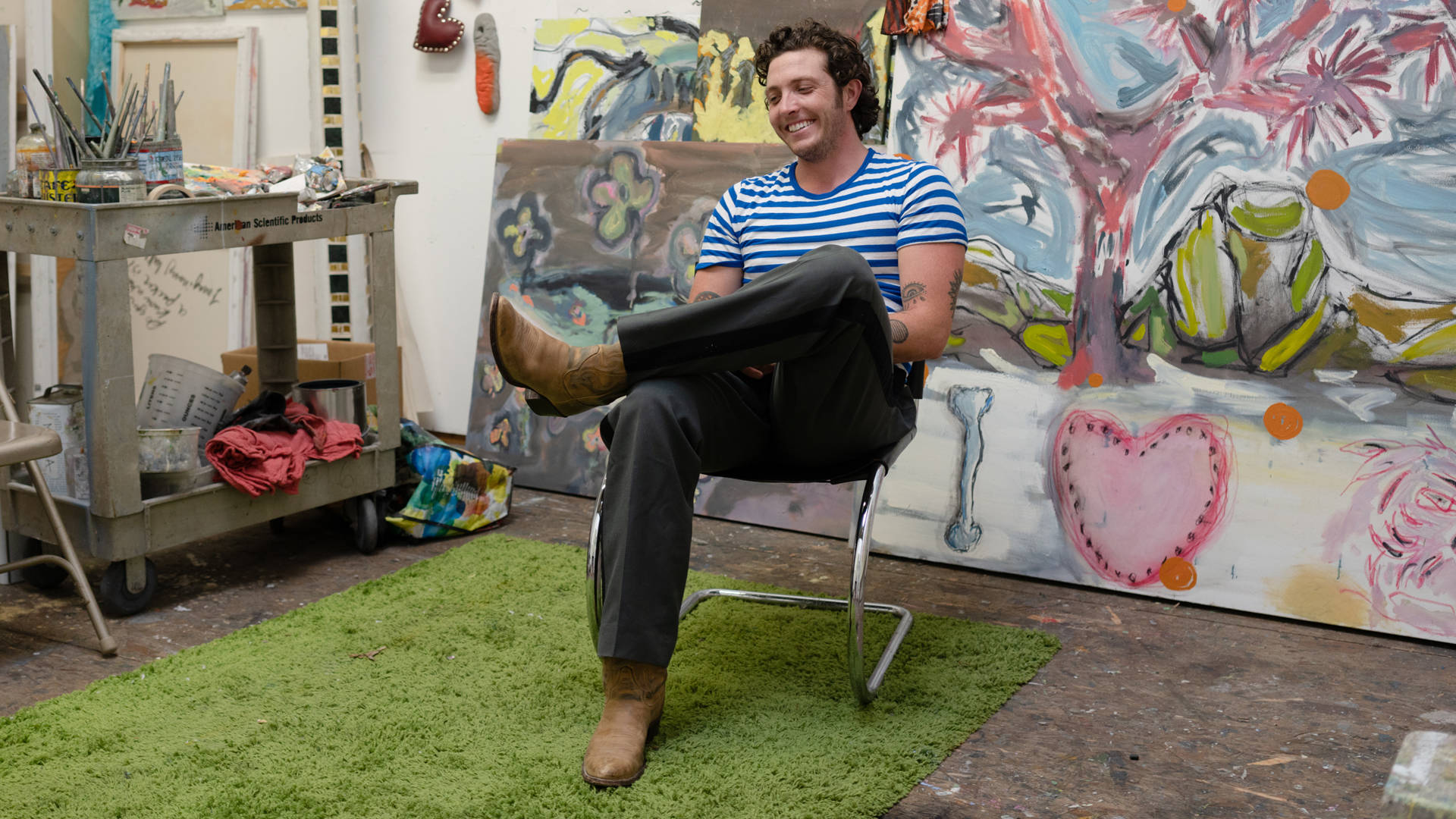 Eli Thorne in his Oakland studio. Graham Holoch/KQED