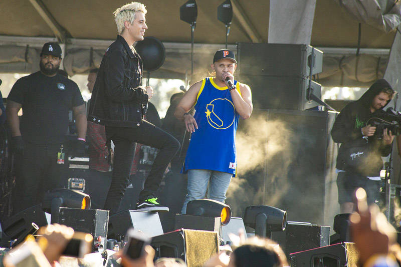 G-Eazy joins P-Lo on stage at Rolling Loud Bay Area in Oakland on Saturday, September 15, 2018.
