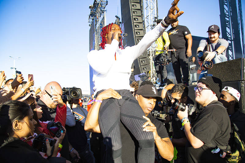 Famous Dex performs with Rich the Kid at Rolling Loud Bay Area on Sunday, September 16, 2018.