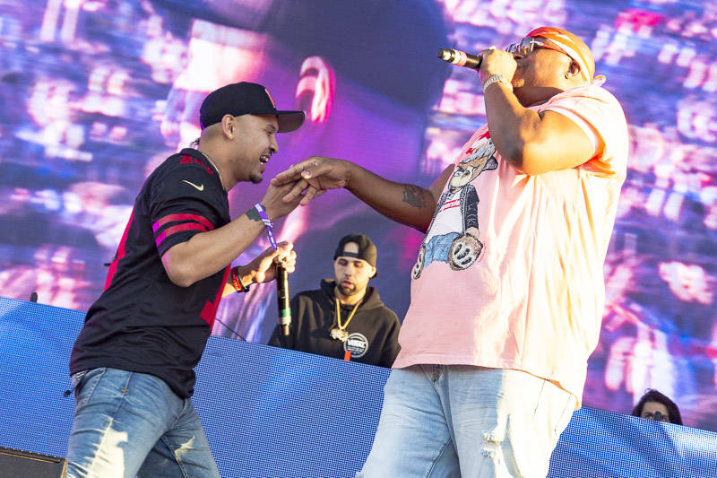 P-Lo performs with E-40 at Rolling Loud Bay Area on Sunday, September 16, 2018.