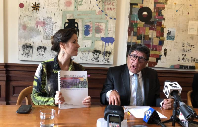 Oakland Mayor Libby Schaaf and Cultural Affairs Manager Roberto Bedoya present the city's first-ever Cultural Plan.