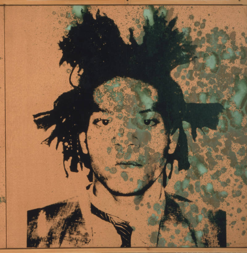 Jean-Michel Basquiat, ca. 1982. Acrylic, silkscreen ink, and urine on canvas.