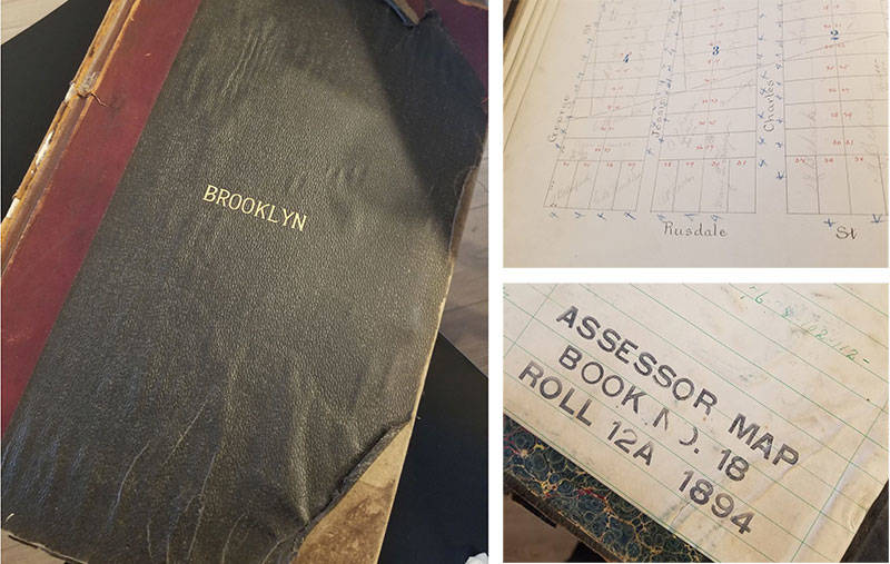 A land assessor's book for the city of Brooklyn (later Oakland), owned by Elise Cecaci.