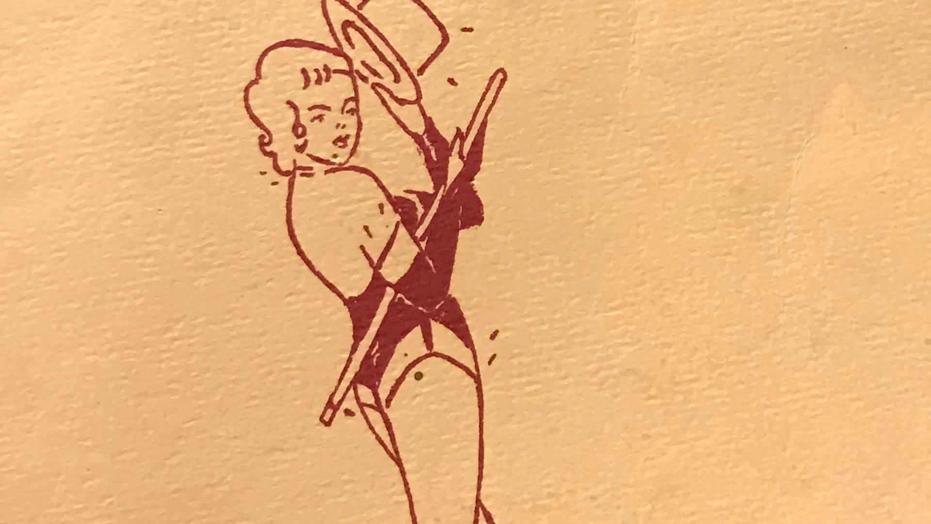 Detail from one of Rita Cecaci's Raiderettes programs from 1962. Pendarvis Harshaw