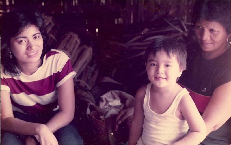 Jose Antonio Vargas as a child with his mother and grandmother in the Philippines.
