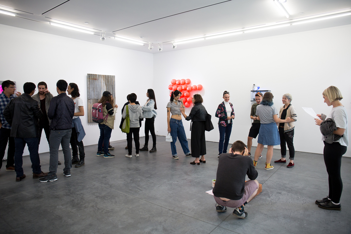 An exhibition opening on SFAI's Fort Mason campus.
