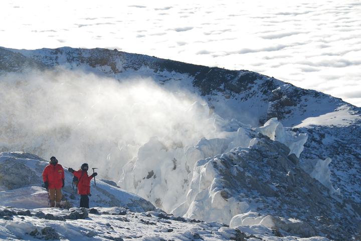 Lisa K. Blatt (right) atop Mount Erebus, Antarctica.
