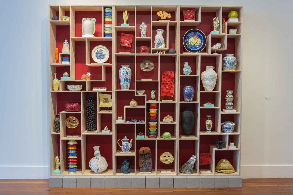 Cathy Lu, 'Treasure Case,' 2016. The shelves reference a display in San Francisco's Asian Art Museum, a replica of a display shelf from the Forbidden Palace, PRC.