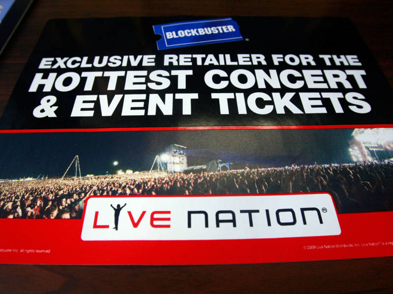 A 2009 Blockbuster sign advertising Live Nation's ticket sales, publicized shortly before the latter company's merger with Ticketmaste