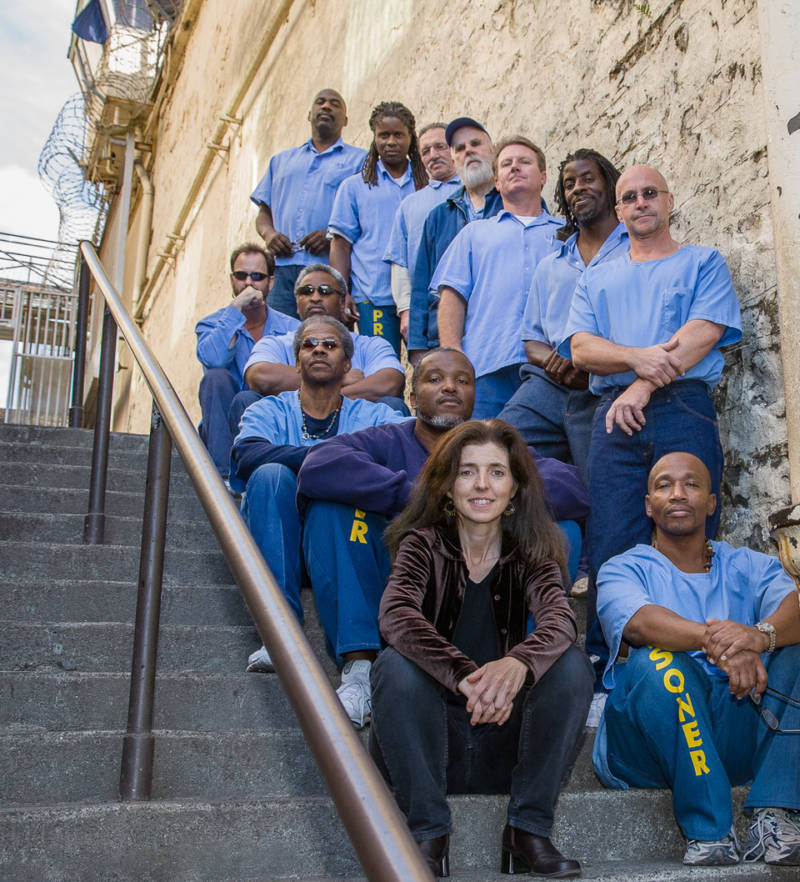 Zoe Mullery and some of her students from San Quentin State Prison.